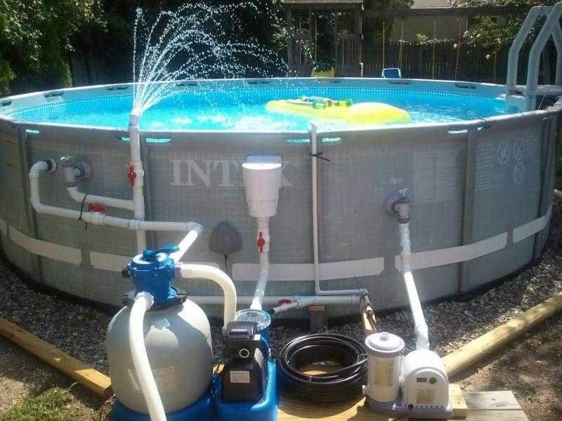 Intex Ultra 16 With Haywood Heater Intex Sand Filter Swg Pool Plumbing Pool Fountain Diy Pool