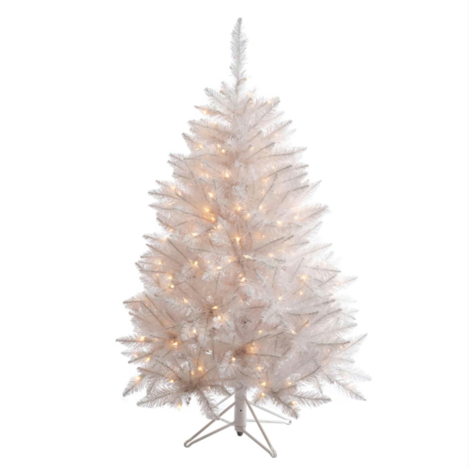 45 Pre Lit White Sparkle Spruce Artificial Christmas Tree  Clear