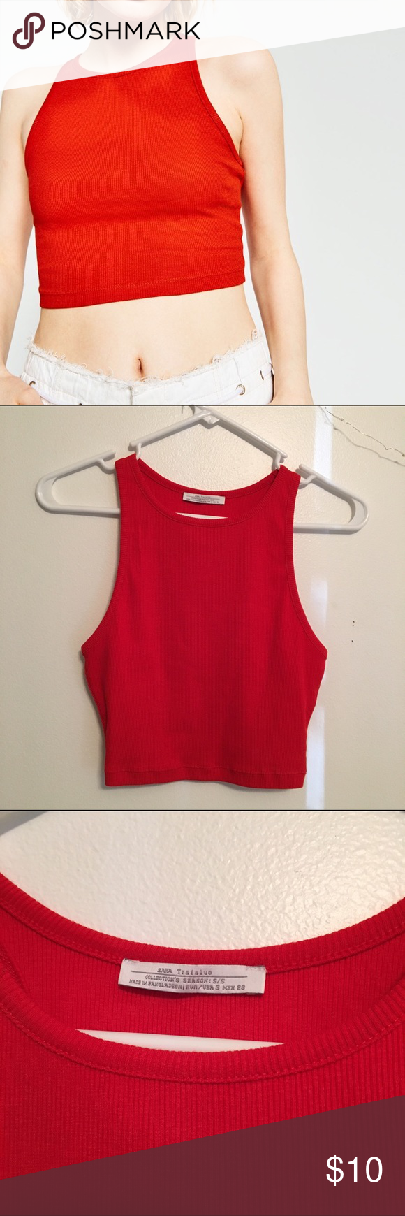 Zara Red Crop Top No trades! No modeling! Size small. Fits true to size. Never worn, no flaws. Cropped fit. Zara Tops Crop Tops