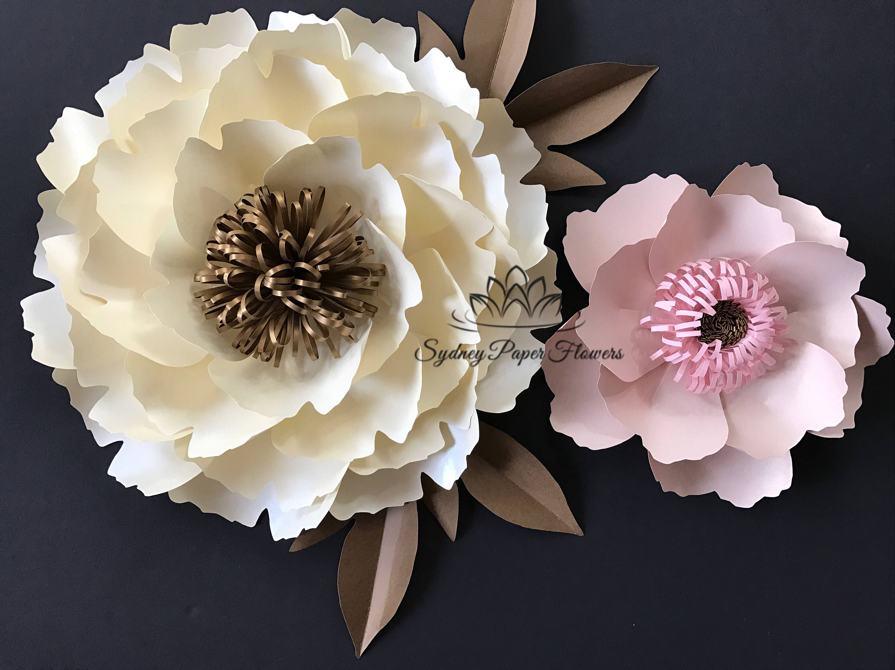 2 Peony Flowers And Leaves Templates Video Tutorials Paper Flower