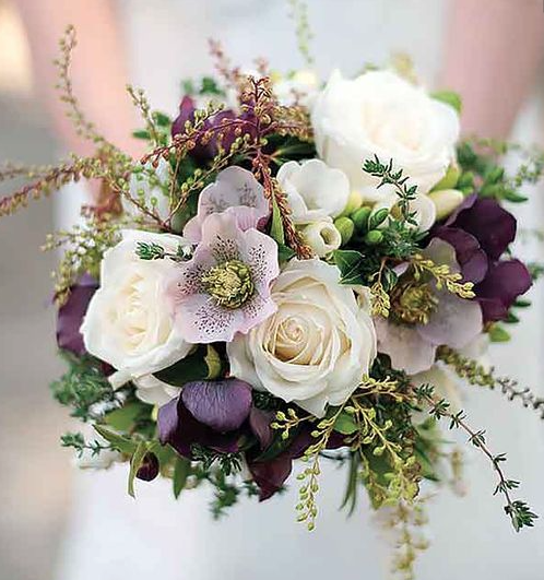 Ivory spray roses deep purple hellebore lavender for Gold flowers for wedding bouquet