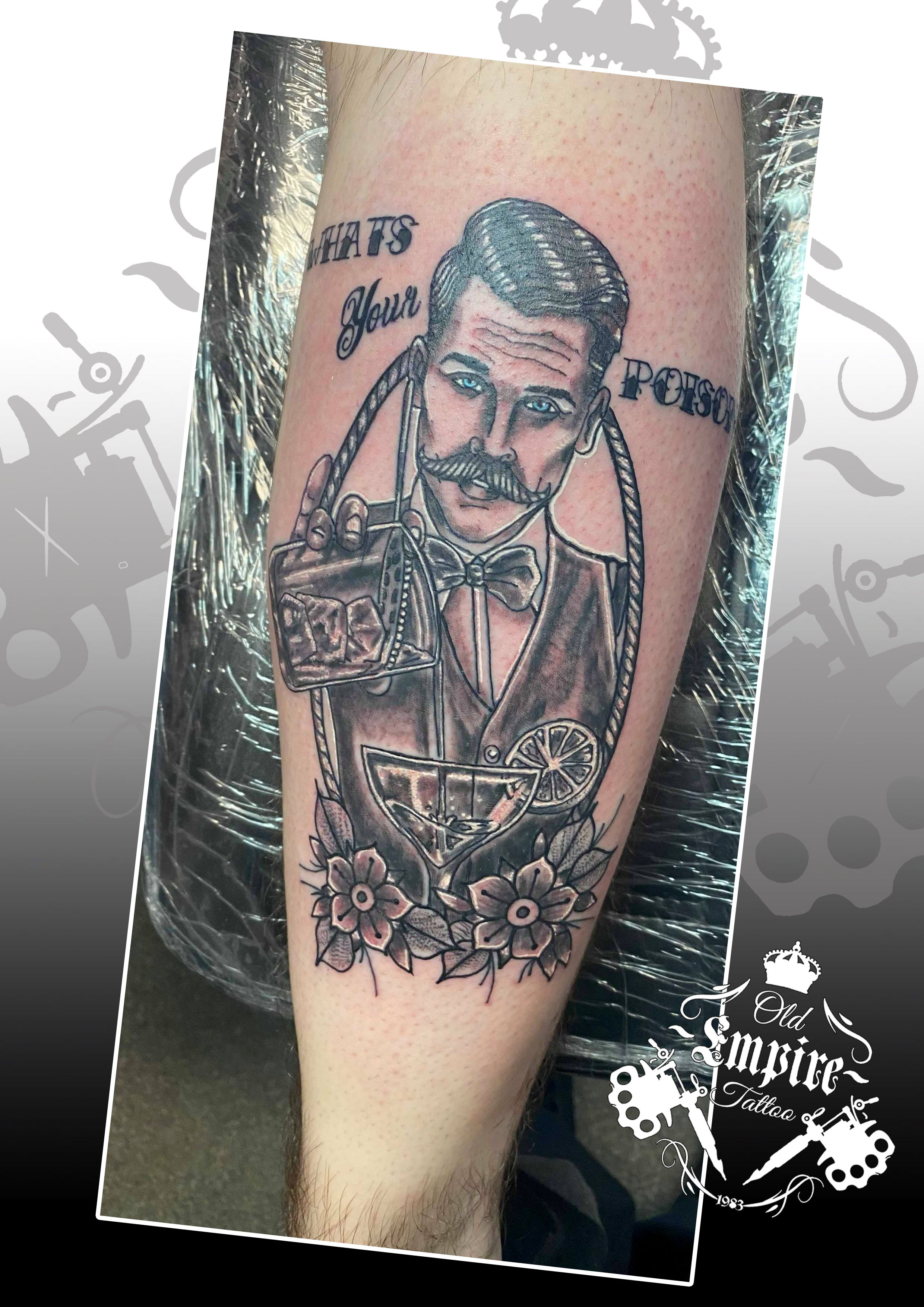 Loved doing this suave #BarManTattoo for a regular client! #WhatsYourPoison #Moustache #Cocktail #Mixer #BlueEyes #Ink #GuysWithTattoos #OldEmpireTattoo