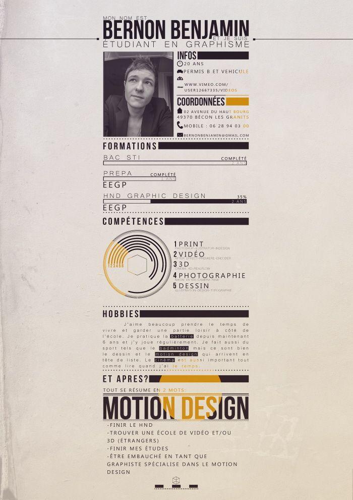 My Cv By Benjamin Bernon At Coroflot Com Graphic Design Resume Graphic Design Cv Resume Design Creative