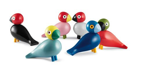 Kay Bojesen Denmark just released the colorful Songbird flock of wooden toy birds, originally designed by Kay Bojesen in 1950 but never put into production.