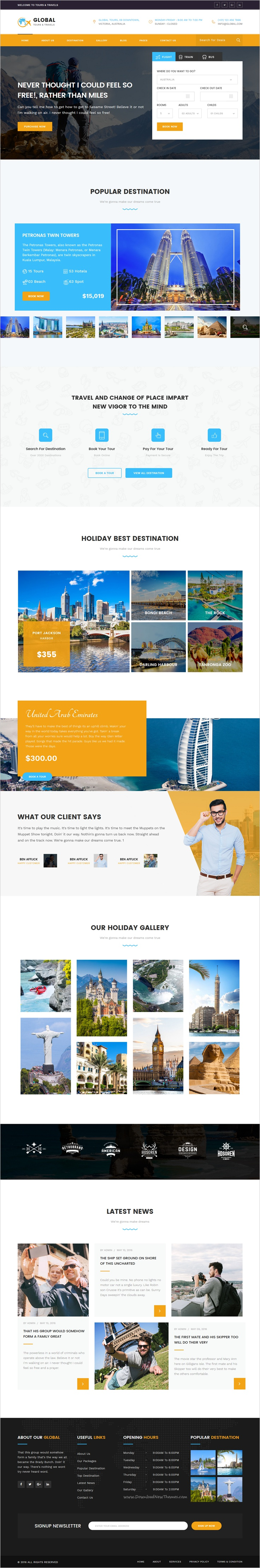 global tours travels html template travel agency website and