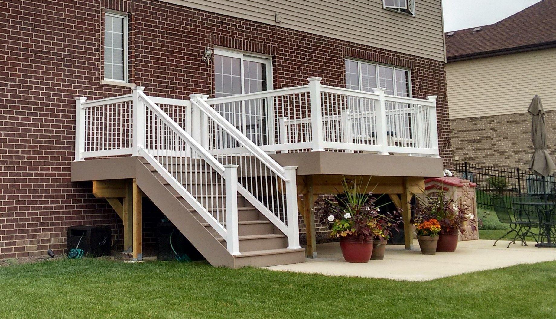 Elevated Timbertech Deck New Lenox Il Deck Builder Building A Deck Decks Backyard Deck Builders