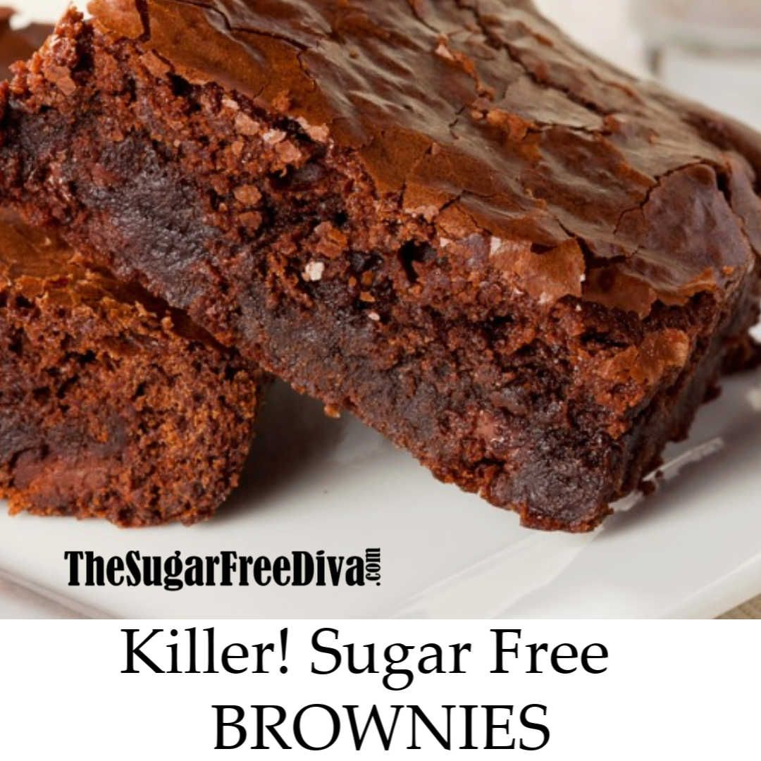 This is the recipe for the best (Killer...) Sugar Free Chocolate Brownies #sugarfreerecipes