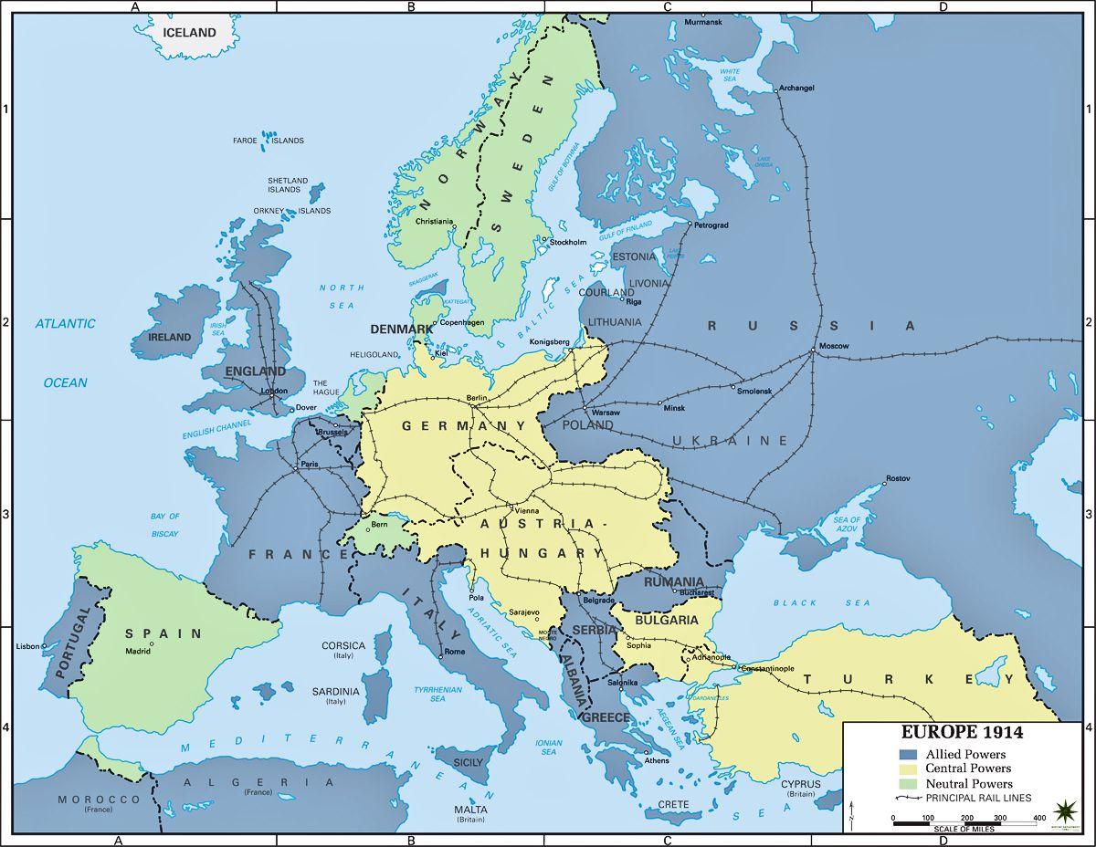 Map Of Europe In 1914 Europe Map Europe 1914 Europe