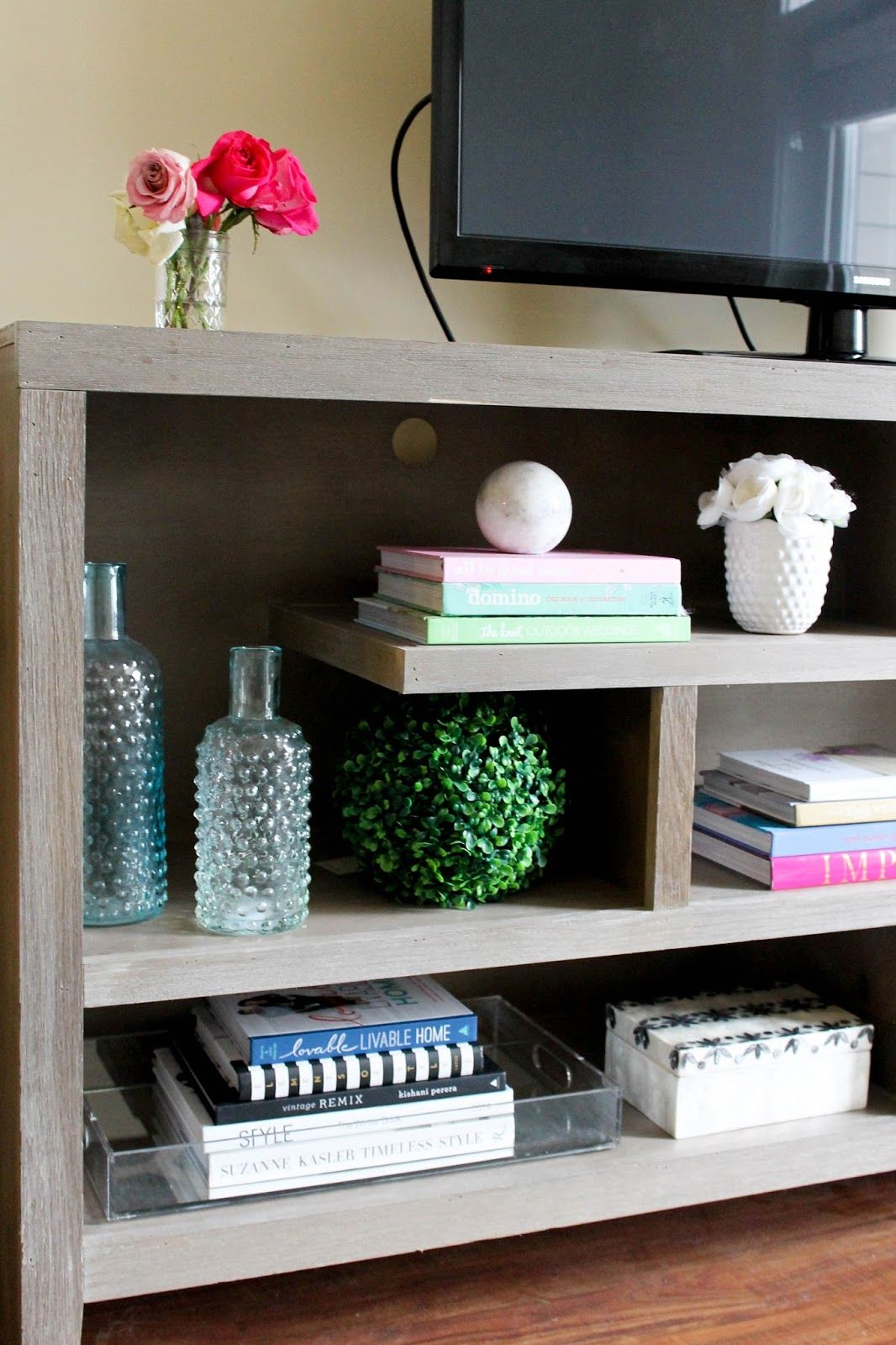 how to style your tv stand or console table with pretty in the pines
