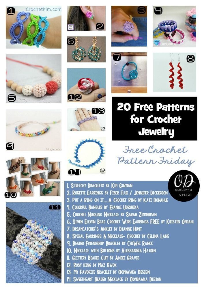 20 Free Patterns for Crochet Jewelry | Joyerías, Ganchillo y El diseño