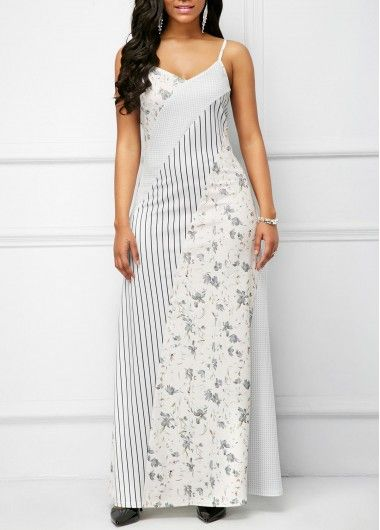 6791aa9e9861a Printed Spaghetti Strap White Maxi Dress | Rosewe.com - USD $35.76 ...