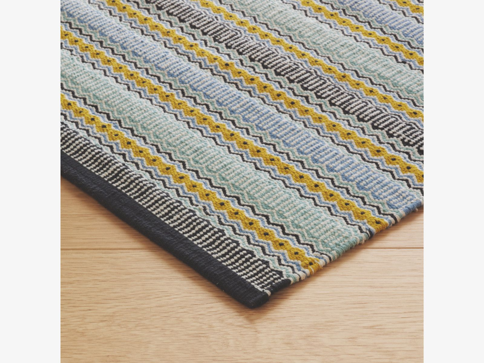 Agnes Blues Cotton Small Blue Flat Weave Rug 120 X 180cm Habitatuk