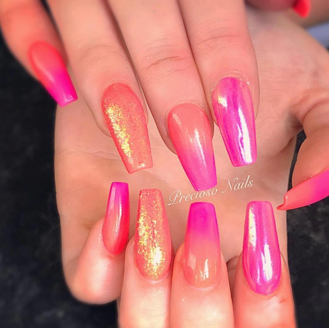 Bright Glitter Acrylic Nails