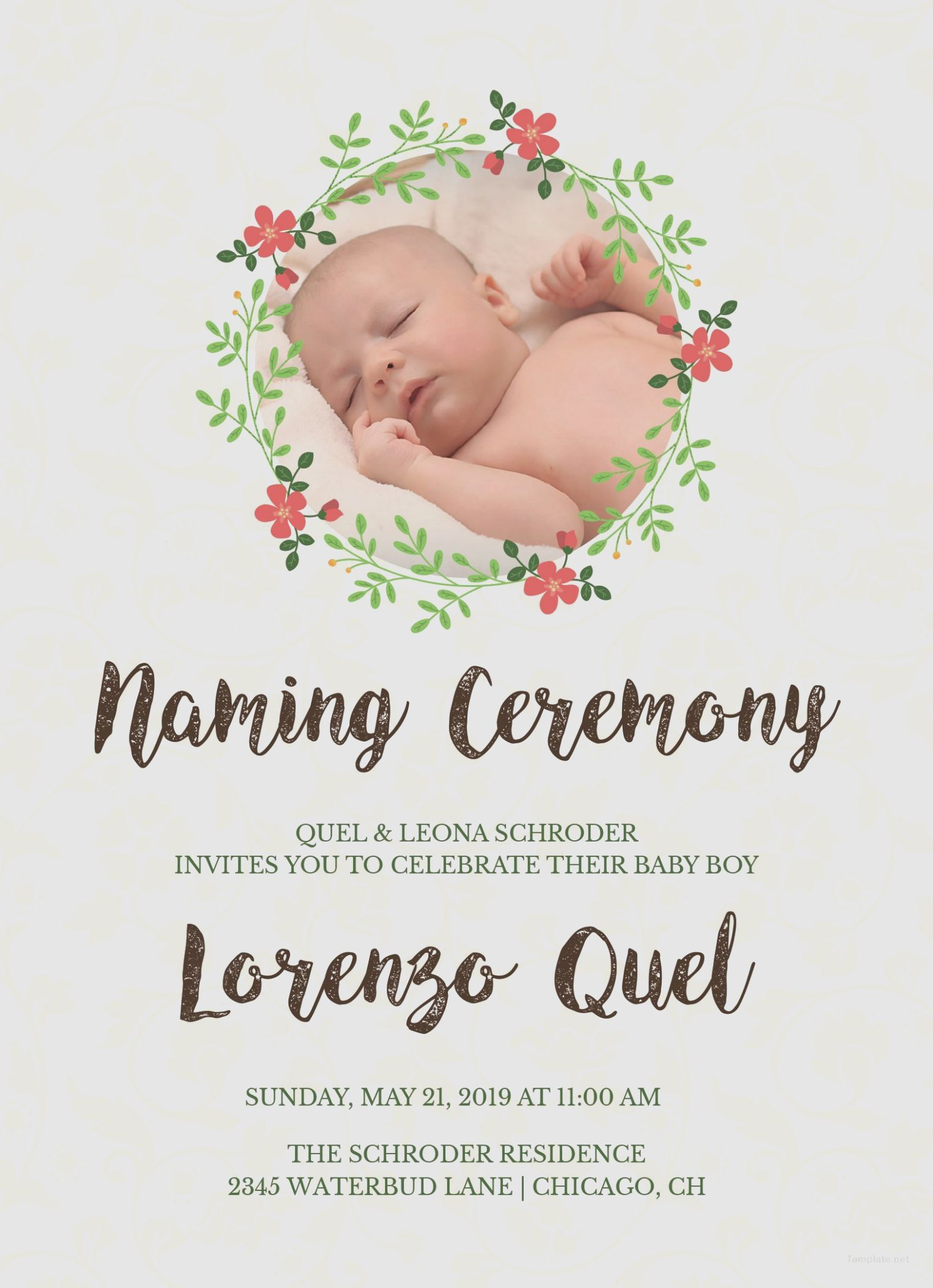 7 naming ceremony invitation card