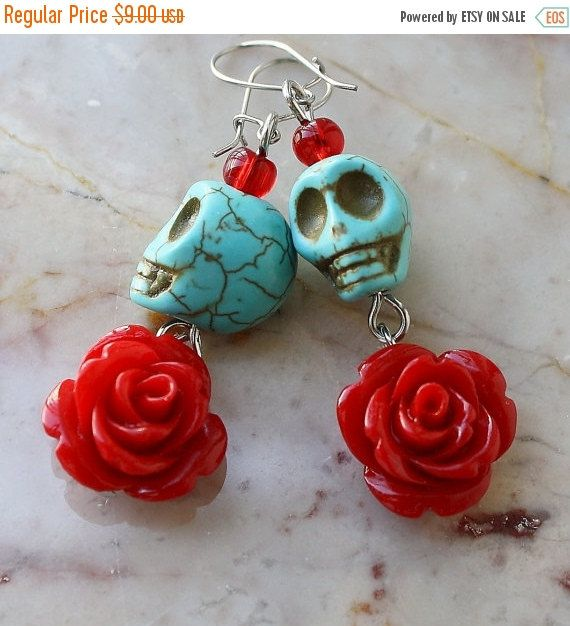 ON SALE Day of the Dead Dia de los Muertos Frida Señorita Red Rose Turquoise Skull Dangle Hypoallergenic Earrings