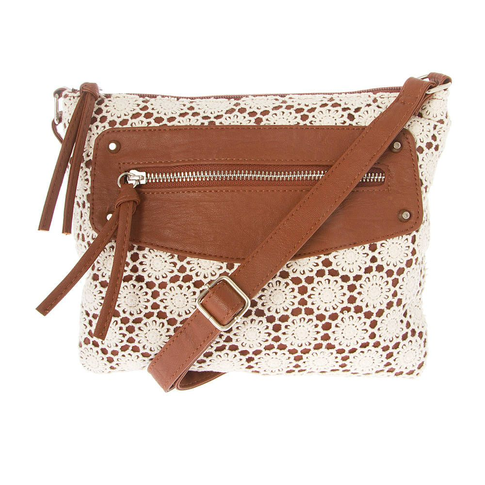 Santa Clara Faux Leather and Crocheted Lace Flowers Crossbody Bag | Icing