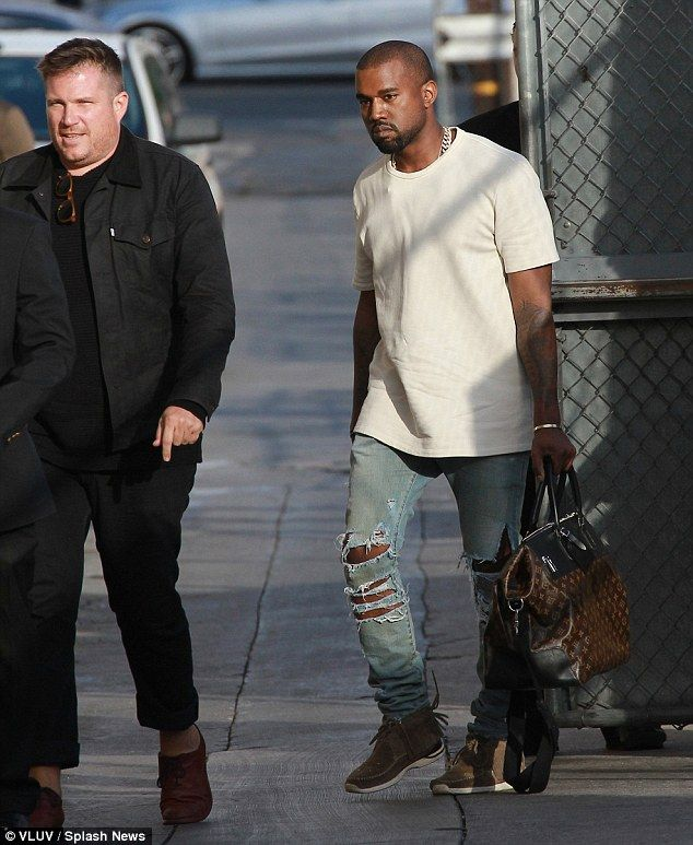 Kanye West Is Supported At Kimmel Showdown By Kim Kardashian And North Kim Kardashian And North Kanye West Plain White T Shirt
