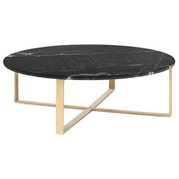 """Check out this item at One Kings Lane! 38"""" Rosa Coffee Table, Black/Gold"""