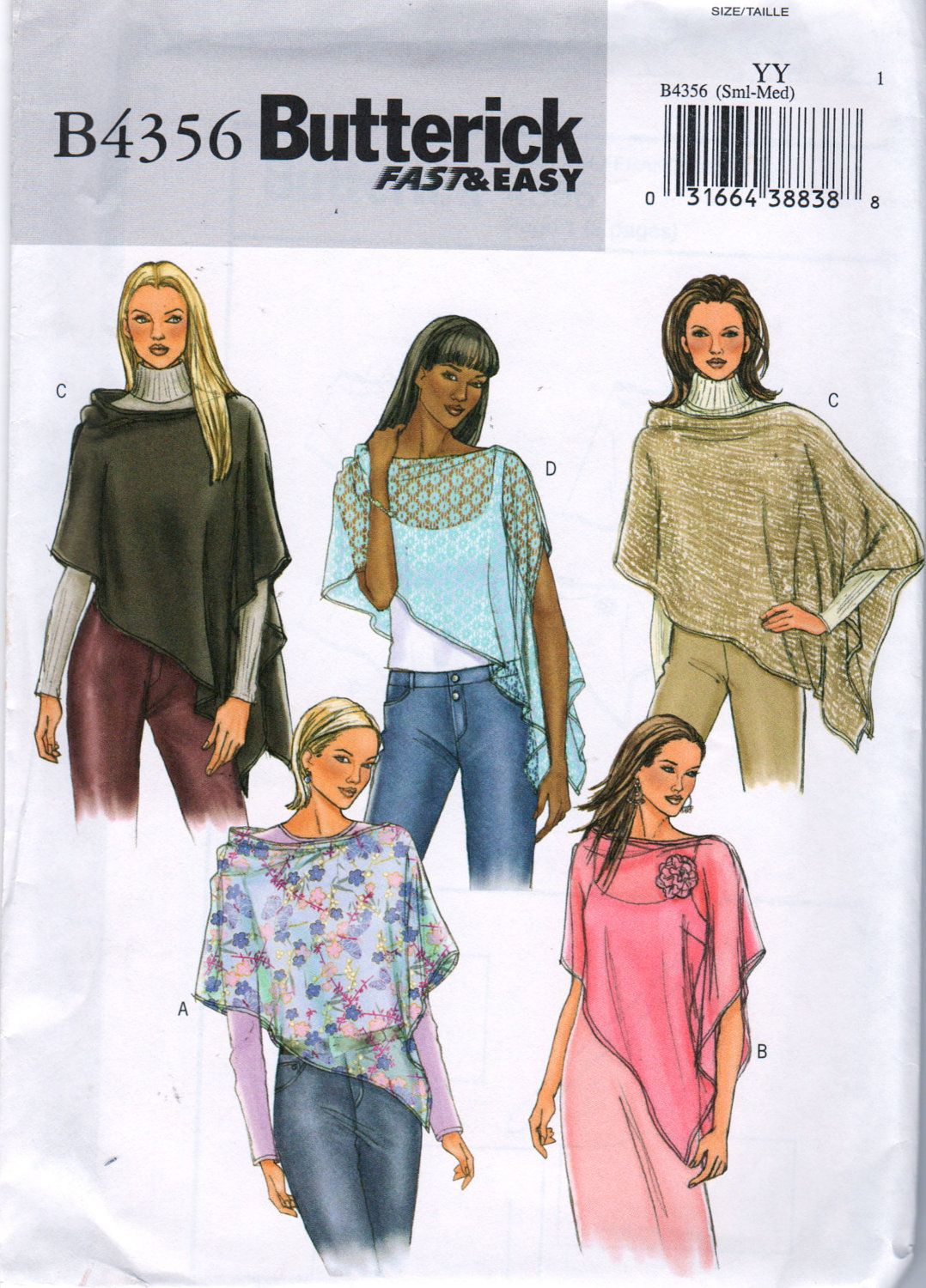 Butterick 4356 fast and easy misses asymmetrical poncho pattern butterick 4356 fast and easy misses asymmetrical poncho pattern flower trim womens sewing pattern size sm jeuxipadfo Choice Image