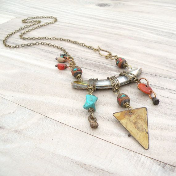 Tribal Assemblage Necklace  Asymmetrical Bohemian by GypsyIntent, $52.00