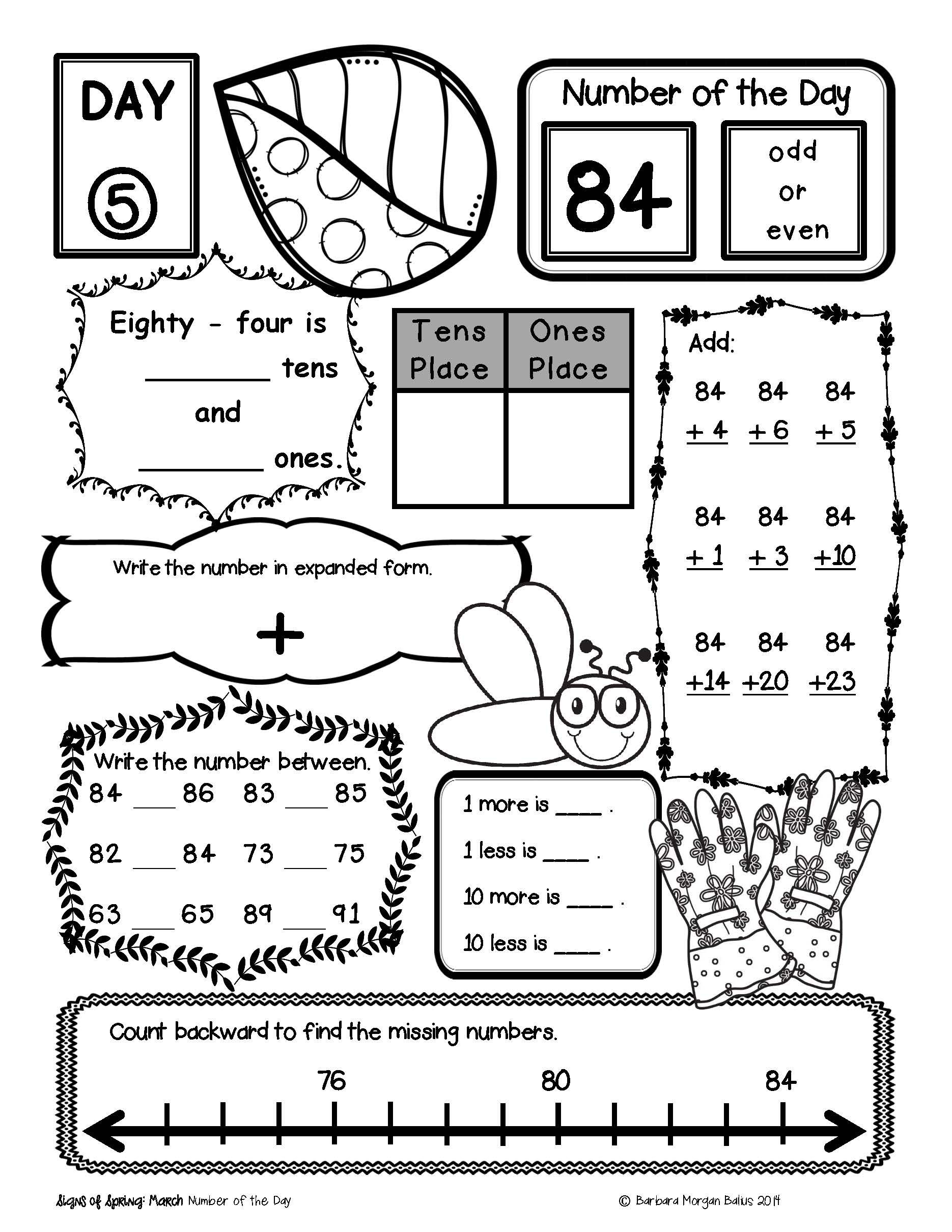 Number of the Day {The Whole Year!} Bundle   2nd grade math worksheets [ 2420 x 1870 Pixel ]