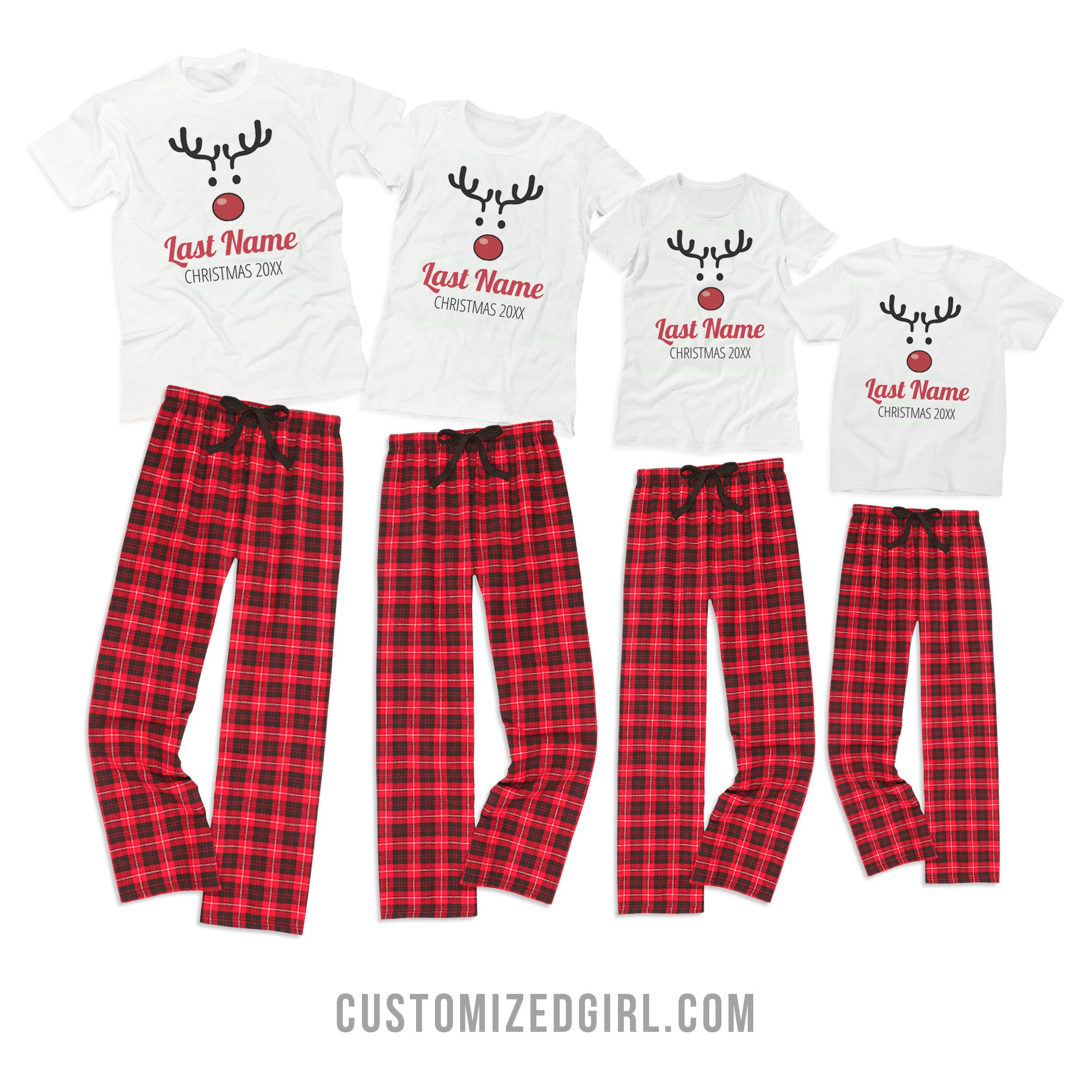 49a1945162 Custom Kids Rudolph Family Pajamas - Who doesn t like matching Christmas  pajamas  Get your family together and customize these with your last name  and the ...