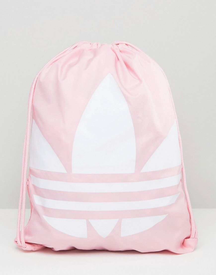 929e3776b1 Pink Adidas Originals Trefoil Drawstring Backpack - cute gym bag