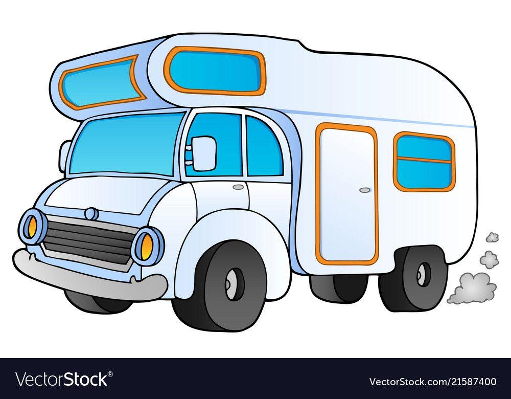Cartoon Camping Van Vector Image On Free Clip Art Vans Stickers