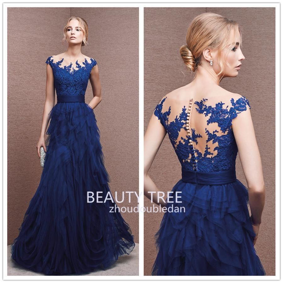 hot style zuhair murad scoop neck royal blue lace formal
