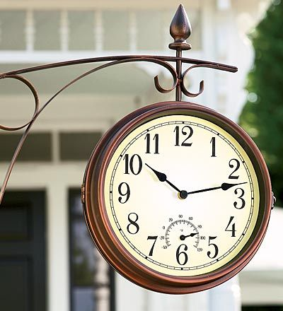 Side Mounted Wall Clock Steampunk Kitchen Outdoor Hanging