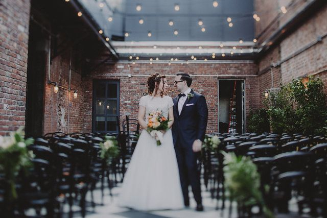 First Look Spring In Wedding The Wythe Hotel Simple Urban Ceremony Decor