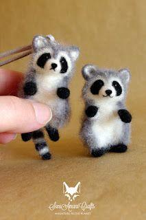 Tiny miniatures, tiny needle felted raccoon, fox, bunnies, bunny, rabit