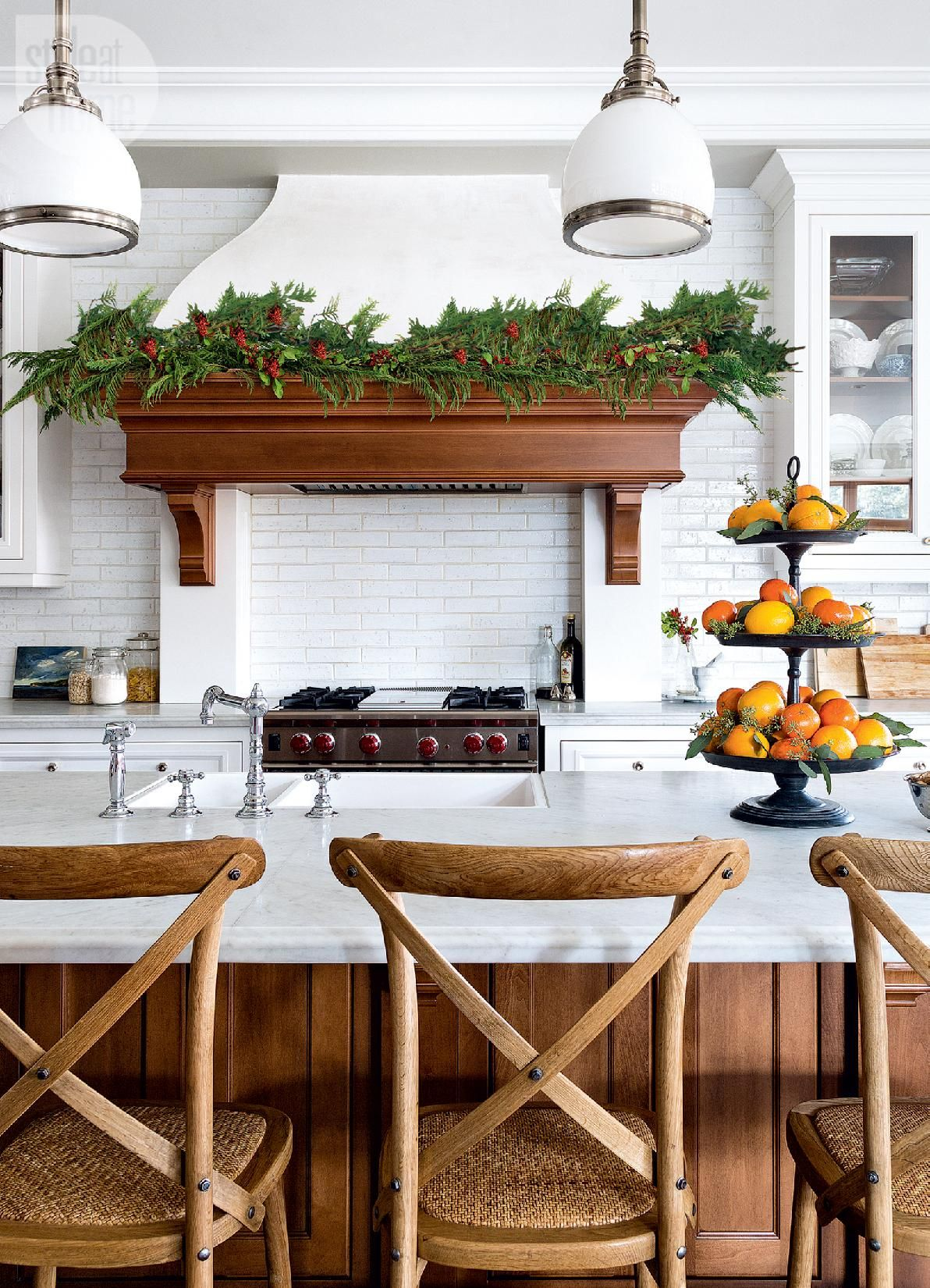 A Canadian home styled for Christmas with natural elements