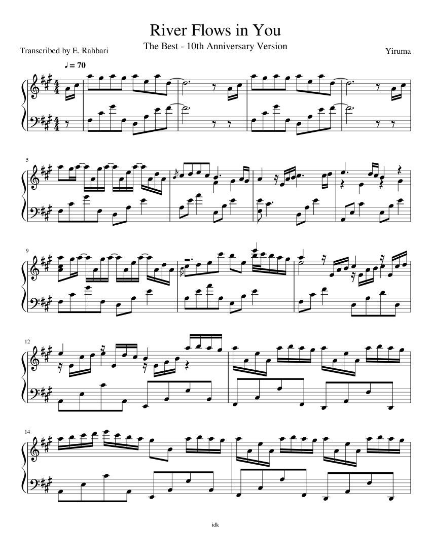 River Flows In You Sheet Music River Flow In You Sheet Music Flow