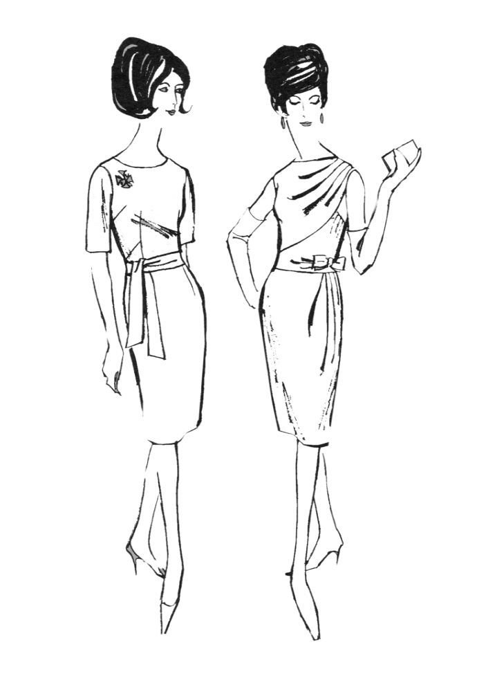 1960s Colouring In Fashion Line Drawings For Sewing Patterns Fashion Coloring Book Fashion Drawing Fashion Line