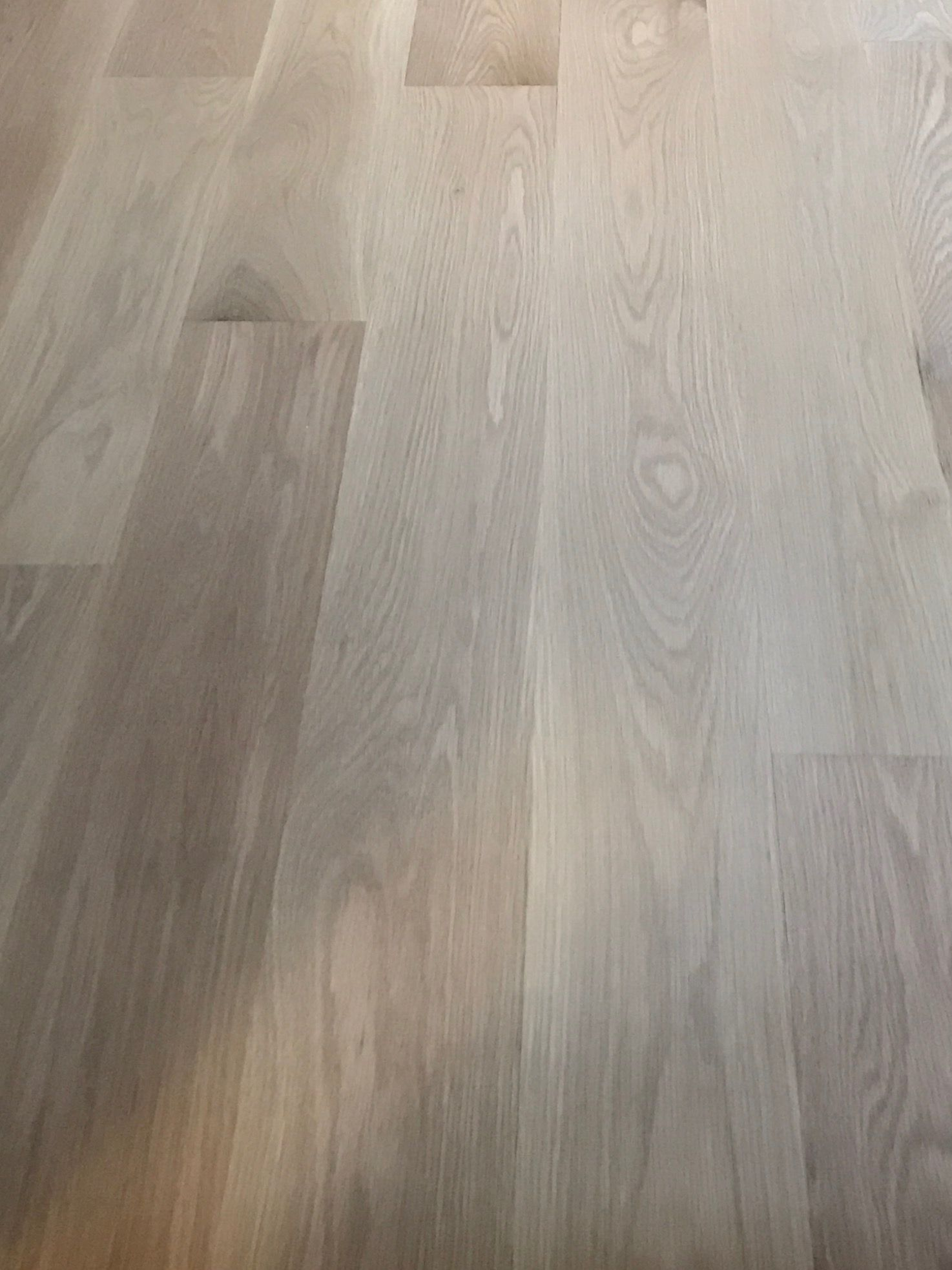 White Oak Floors With Pickled Wash on  Wiped Off then