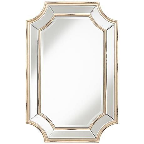 A Large Cut Corner Wall Mirror With A Beveled Glass Edge
