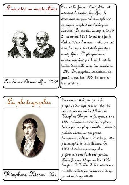 Le Bonheur En Famille Cartes Des Inventeurs Avec Les Freres Montgolfier Histoire Cm1 Inventeurs Histoire Universelle