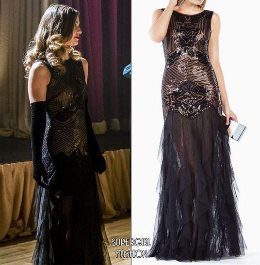 """d9682cf2be1 WHO: Melissa Benoist as Kara Danvers WHAT: BCBGMAXAZRIA Magdalena Sequined  Gown - $548 WHERE: The Flash 3x17 """"Duet"""" Sneak peak at one of Kara's  outfits from ..."""