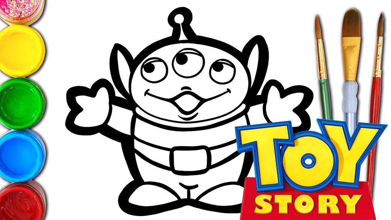How To Draw Cute Alien From Toy Story 4 Learn Colors Alien Drawings Drawing For Kids Toy Story