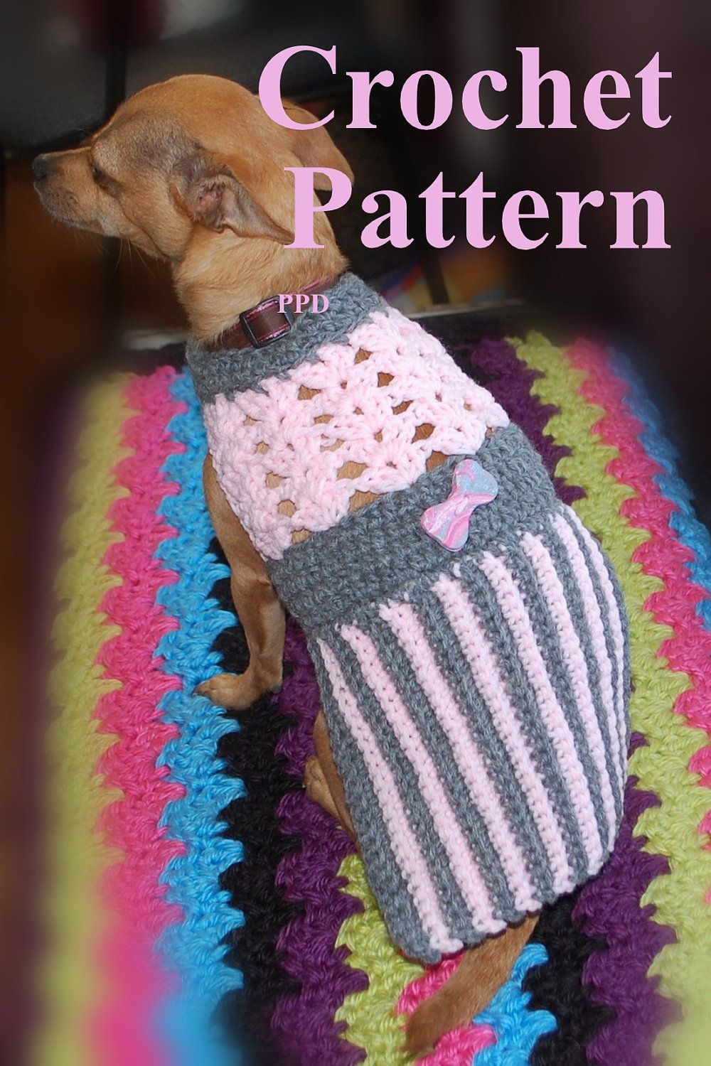Instant Download Crochet Pattern - Pink and Grey Pleated Dog Sweater ...
