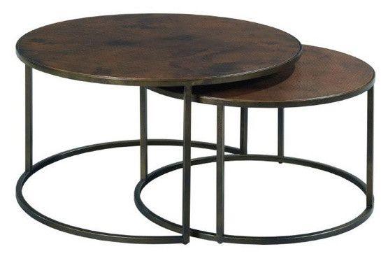 580 30x30 40x40 Hammary Sanford Round Nesting Cocktail Tables