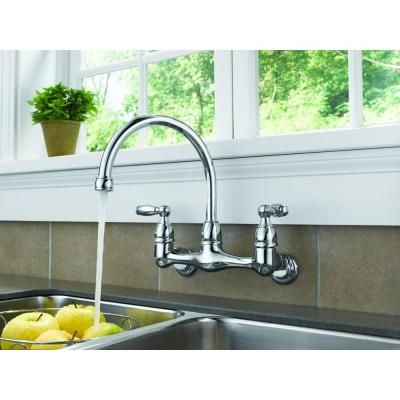 Peerless Choice 2-Handle Wall Mount Kitchen Faucet in Chrome | Wall ...