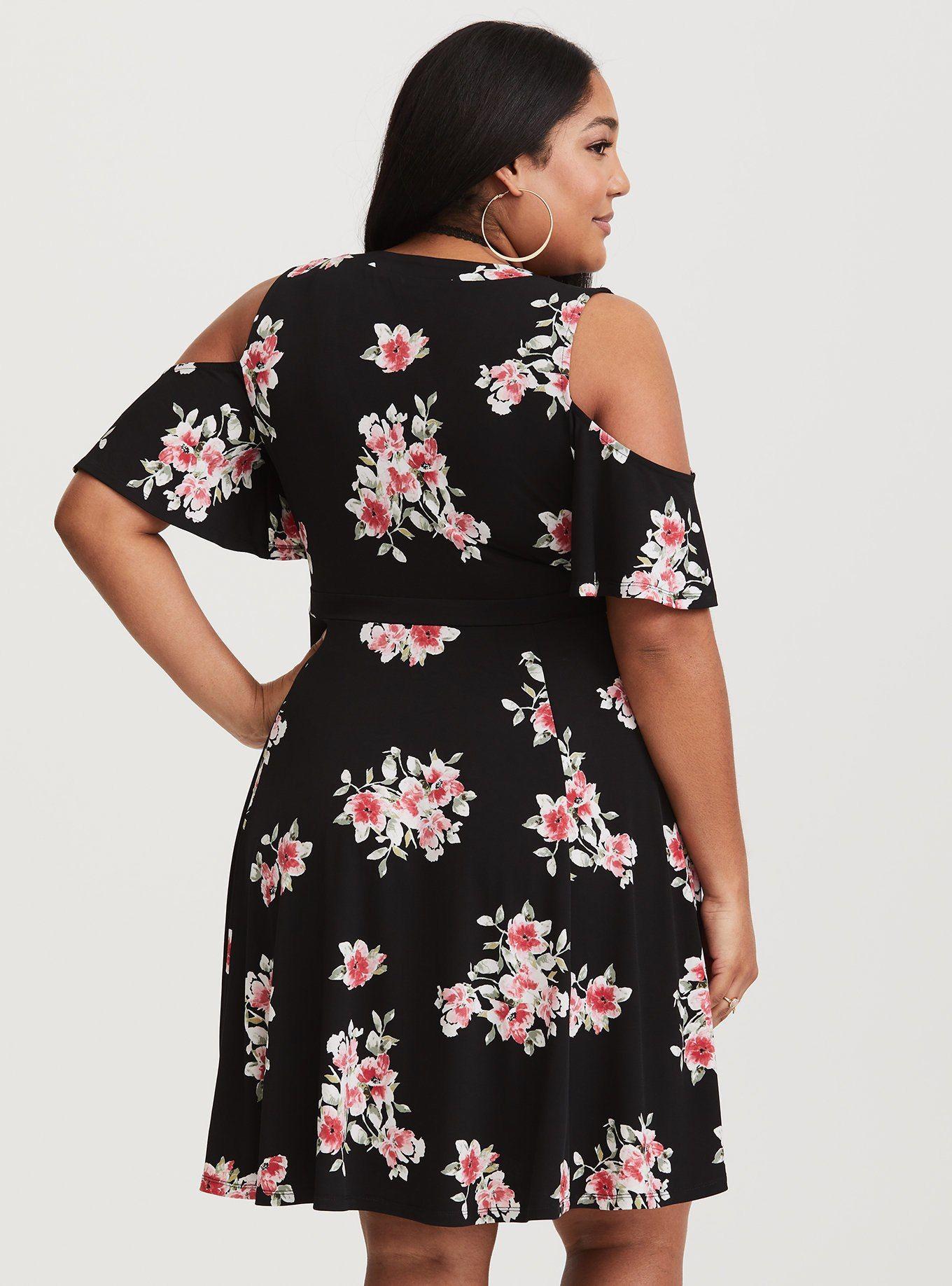 72e6cf67c10 Black Floral Jersey Knit Skater Dress