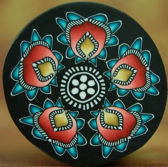 LARGE Yellow Red and Turquoise Polymer Clay Flower by ikandiclay,