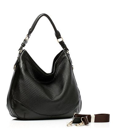 Foley Agamo Black Adina Embossed Leather Hobo Leather Hobo Leather Embossed Leather