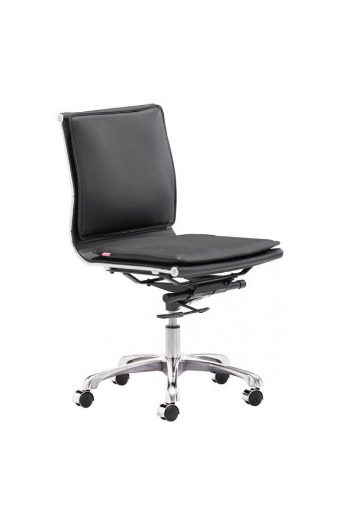 Modern Black Leather Chrome Armless Office Or Conference Chair Black Office Chair Modern Office Chair Office Chair Cushion