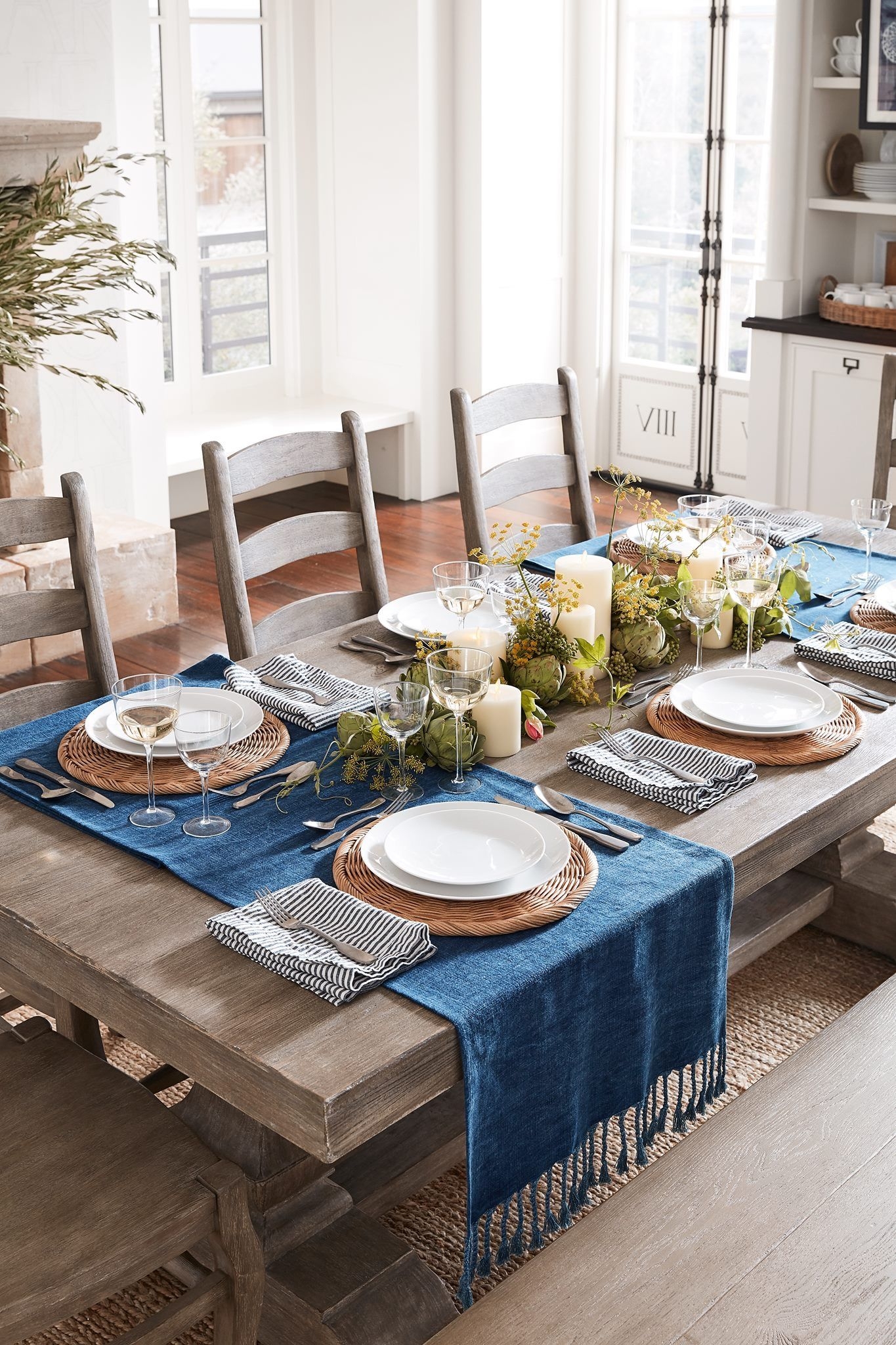 Pin By Lori On The Bluebird Cottage Dining Table Decor Dinning Table Decor Pottery Barn Table