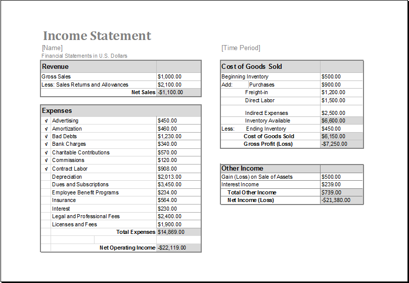 Income And Expense Statement Template MS Excel Income Statement Editable  Printable Template  Income And Expenditure Statement Template