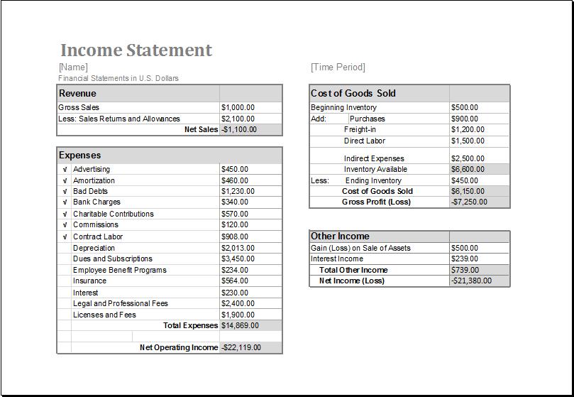 income statement template download atxltemplates – Microsoft Income Statement